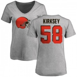 Women's Christian Kirksey Cleveland Browns Name & Number Logo Slim Fit T-Shirt - Ash