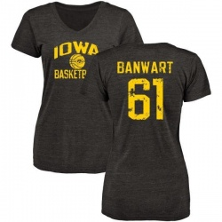 Women's Cole Banwart Iowa Hawkeyes Distressed Basketball Tri-Blend V-Neck T-Shirt - Black