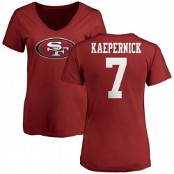 Women's Colin Kaepernick San Francisco 49ers Name & Number Logo Slim Fit T-Shirt - Red