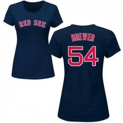 Women's Colten Brewer Boston Red Sox Roster Name & Number T-Shirt - Navy