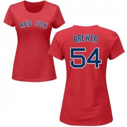 Women's Colten Brewer Boston Red Sox Roster Name & Number T-Shirt - Red