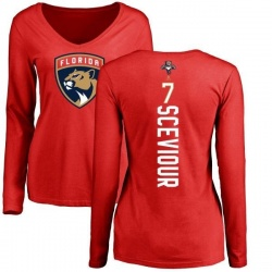 Women's Colton Sceviour Florida Panthers Backer Long Sleeve T-Shirt - Red