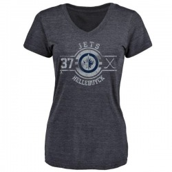 Women's Connor Hellebuyck Winnipeg Jets Insignia Tri-Blend T-Shirt - Navy