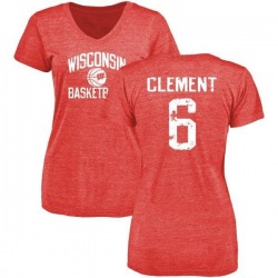 Women's Corey Clement Wisconsin Badgers Distressed Basketball Tri-Blend V-Neck T-Shirt - Red