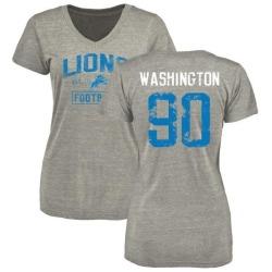 Women's Cornelius Washington Detroit Lions Heather Gray Distressed Name & Number Tri-Blend V-Neck T-Shirt