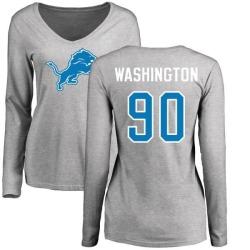 Women's Cornelius Washington Detroit Lions Name & Number Logo Slim Fit Long Sleeve T-Shirt - Ash