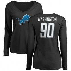 Women's Cornelius Washington Detroit Lions Name & Number Logo Slim Fit Long Sleeve T-Shirt - Black