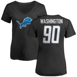 Women's Cornelius Washington Detroit Lions Name & Number Logo Slim Fit T-Shirt - Black