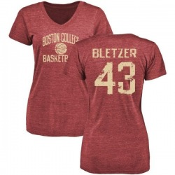 Women's Curt Bletzer Boston College Eagles Distressed Basketball Tri-Blend T-Shirt - Maroon