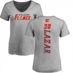 Women's Curtis Lazar Calgary Flames Backer T-Shirt - Ash
