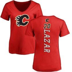 Women's Curtis Lazar Calgary Flames Backer T-Shirt - Red