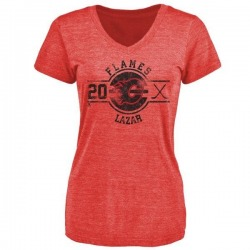 Women's Curtis Lazar Calgary Flames Insignia Tri-Blend T-Shirt - Red