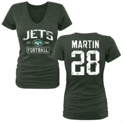 Women's Curtis Martin New York Jets Green Distressed Name & Number Tri-Blend V-Neck T-Shirt
