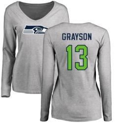 Women's Cyril Grayson Seattle Seahawks Name & Number Logo Slim Fit Long Sleeve T-Shirt - Ash