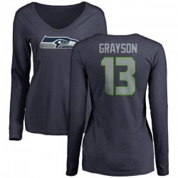 Women's Cyril Grayson Seattle Seahawks Name & Number Logo Slim Fit Long Sleeve T-Shirt - Navy
