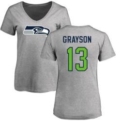 Women's Cyril Grayson Seattle Seahawks Name & Number Logo Slim Fit T-Shirt - Ash