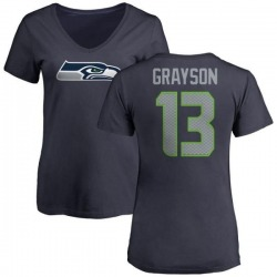Women's Cyril Grayson Seattle Seahawks Name & Number Logo Slim Fit T-Shirt - Navy