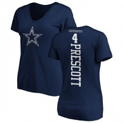 Women's Dak Prescott Dallas Cowboys Backer T-Shirt - Navy