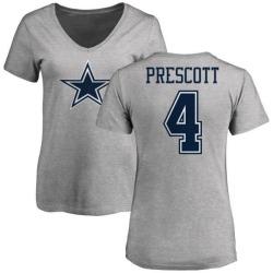 Women's Dak Prescott Dallas Cowboys Name & Number Logo T-Shirt - Ash