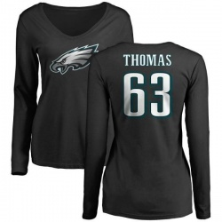 Women's Dallas Thomas Philadelphia Eagles Name & Number Logo Slim Fit Long Sleeve T-Shirt - Black