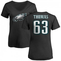 Women's Dallas Thomas Philadelphia Eagles Name & Number Logo Slim Fit T-Shirt - Black