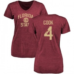 Women's Dalvin Cook Florida State Seminoles Distressed Basketball Tri-Blend V-Neck T-Shirt - Garnet