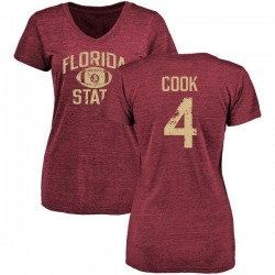 Women's Dalvin Cook Florida State Seminoles Distressed Football Tri-Blend V-Neck T-Shirt - Garnet