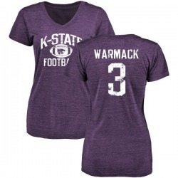 Women's Dalvin Warmack Kansas State Wildcats Distressed Football Tri-Blend V-Neck T-Shirt - Purple