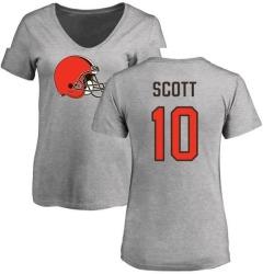Women's Damari Scott Cleveland Browns Name & Number Logo Slim Fit T-Shirt - Ash