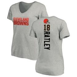 Women's Damion Ratley Cleveland Browns Backer V-Neck T-Shirt - Ash