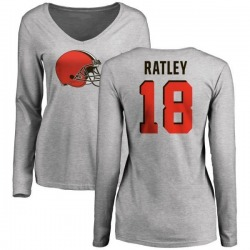 Women's Damion Ratley Cleveland Browns Name & Number Logo Slim Fit Long Sleeve T-Shirt - Ash