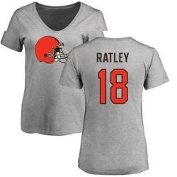 Women's Damion Ratley Cleveland Browns Name & Number Logo Slim Fit T-Shirt - Ash
