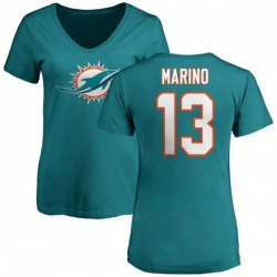 Women's Dan Marino Miami Dolphins Name & Number Logo Slim Fit T-Shirt - Aqua