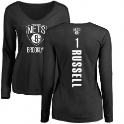 Women's D'Angelo Russell Brooklyn Nets Black Backer Long Sleeve T-Shirt
