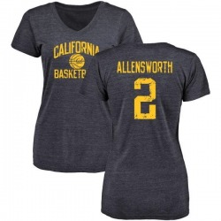 Women's Darius Allensworth Cal Bears Distressed Basketball Tri-Blend V-Neck T-Shirt - Navy