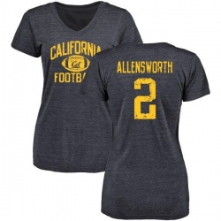 Women's Darius Allensworth Cal Bears Distressed Football Tri-Blend V-Neck T-Shirt - Navy