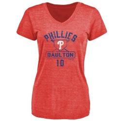 Women's Darren Daulton Philadelphia Phillies Base Runner Tri-Blend T-Shirt - Red