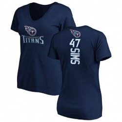 Women's Darrius Sims Tennessee Titans Backer Slim Fit T-Shirt - Navy