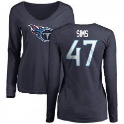 Women's Darrius Sims Tennessee Titans Name & Number Logo Slim Fit Long Sleeve T-Shirt - Navy