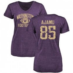 Women's David Ajamu Washington Huskies Distressed Football Tri-Blend V-Neck T-Shirt - Purple
