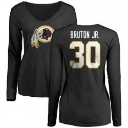 Women's David Bruton Jr. Washington Redskins Name & Number Logo Slim Fit Long Sleeve T-Shirt - Black