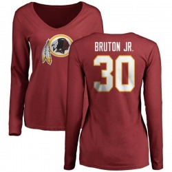 Women's David Bruton Jr. Washington Redskins Name & Number Logo Slim Fit Long Sleeve T-Shirt - Maroon