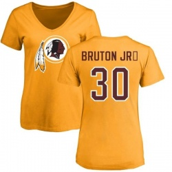 Women's David Bruton Jr. Washington Redskins Name & Number Logo Slim Fit T-Shirt - Gold