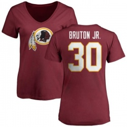 Women's David Bruton Jr. Washington Redskins Name & Number Logo Slim Fit T-Shirt - Maroon