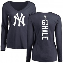 Women's David Hale New York Yankees Backer Slim Fit Long Sleeve T-Shirt - Navy