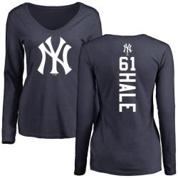 Women's David Hale New York Yankees Backer Slim Fit Long Sleeve T-Shirt - Navy