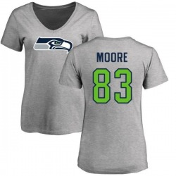 Women's David Moore Seattle Seahawks Name & Number Logo Slim Fit T-Shirt - Ash
