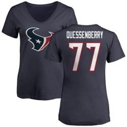 Women's David Quessenberry Houston Texans Name & Number Logo Slim Fit T-Shirt - Navy