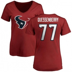 Women's David Quessenberry Houston Texans Name & Number Logo Slim Fit T-Shirt - Red