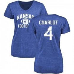 Women's Daylon Charlot Kansas Jayhawks Distressed Football Tri-Blend V-Neck T-Shirt - Royal